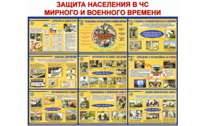 """Стенд """"Защита населения в ЧС мирного и военного времени"""""""