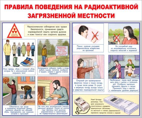 Правила поведения на радиоактивной загрязненной местности